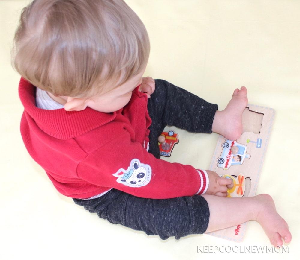 Puzzle Haba avec bouton pour enfant
