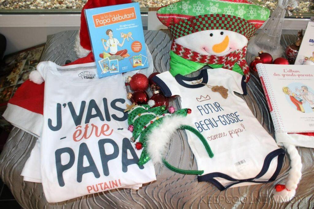 Photo de cadeaux offerts à un papa pour annoncer sa grossesse