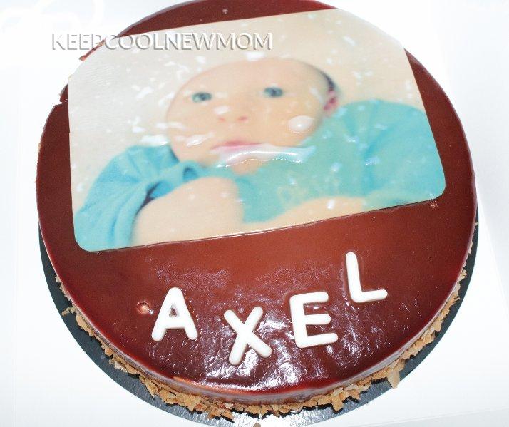 Gâteau personnalisé avec photo fait à l'occasion de ma baby shower