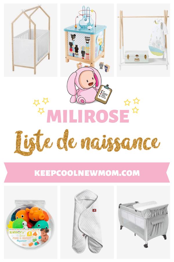 Liste de naissance Milirose - Un article à découvrir sur le blog : keepcoolnewmom.com