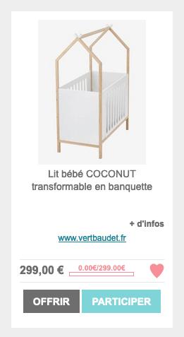 Lit bébé coconut Vertbaudet rajouté sur ma liste de naissance Milirose