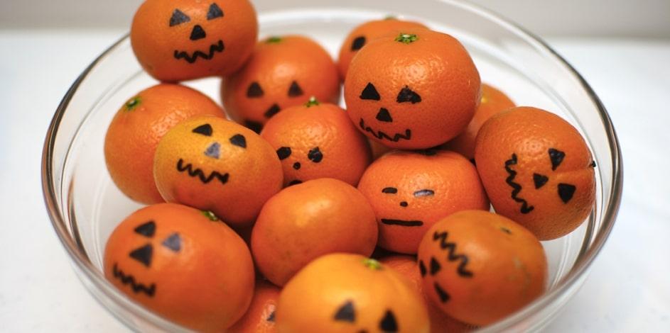 Mandarines customisées pour baby shower Halloween