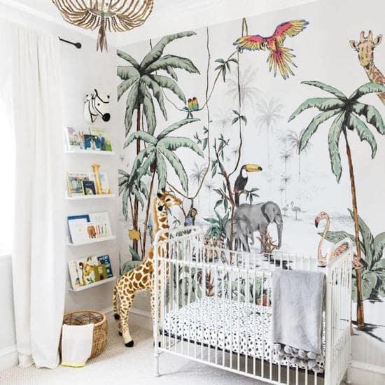 Fond imprimé JUNGLE pour une chambre bébé sur le thème de la jungle - Créatrice ETSY : AnnetWeelinkDesign