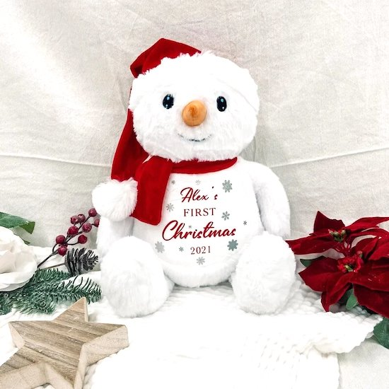Peluche bonhomme de neige pour le premier Noël bébé - Créatrice ETSY : BHWDesigns