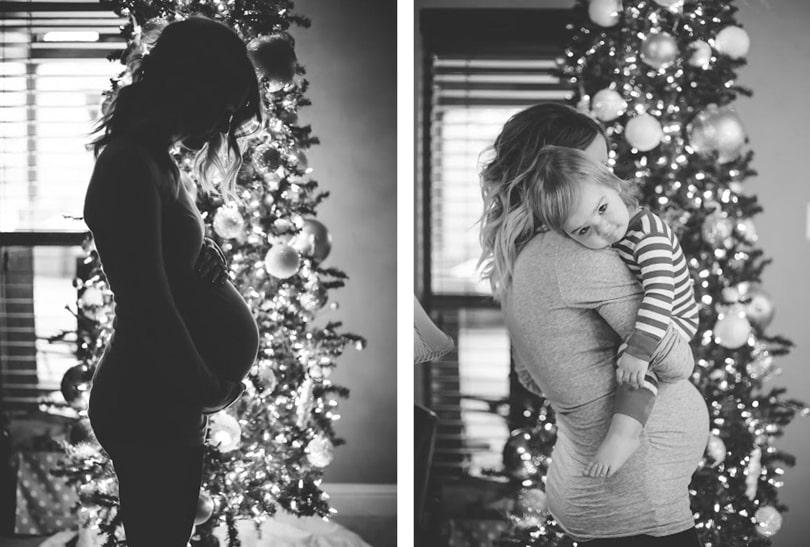 Photo pour annoncer sa grossesse à Noël devant le sapin