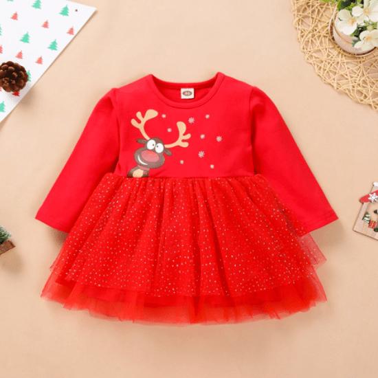 Robe rouge premier Noël bébé