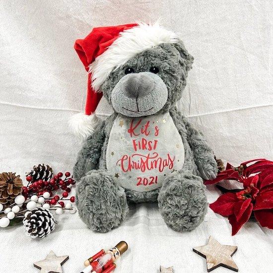 Premier ours en peluche premier Noël bébé - Créatrice ETSY : BHWDesigns