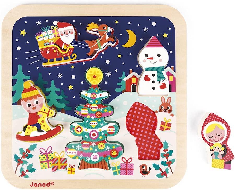 Puzzle Vertical Magnétique Traineau du Père Noël JANOD pour ele premier Noël bébé