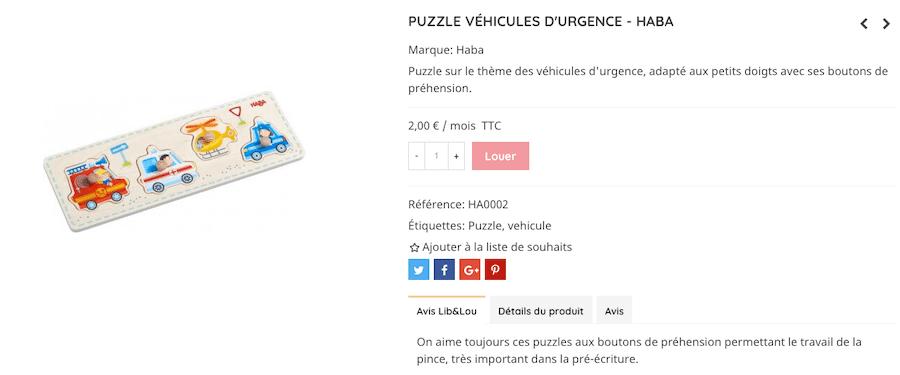 Puzzle sur le thème des véhicules d'urgence, adapté aux petits doigts avec ses boutons de préhension de la ludothèque Lib&Lou