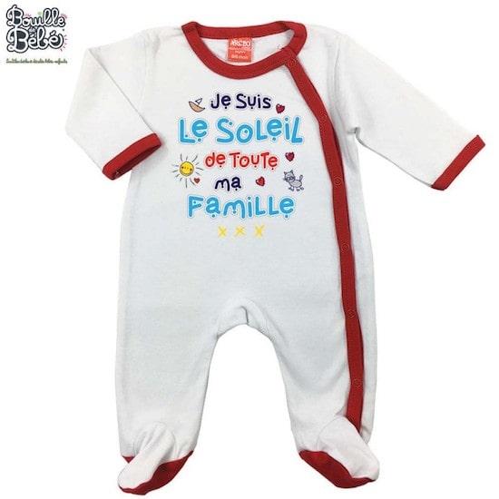 """Pyjama bébé """"Je suis le soleil de toute ma famille"""" à mettre sur la liste de naissance Milirose"""