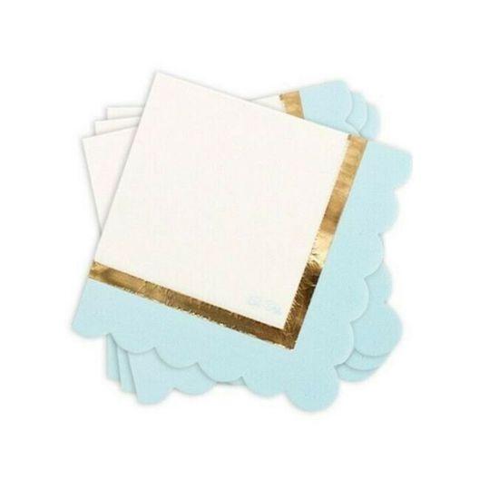 Sachet de 16 serviettes So Chic bleu pastel blanc et or
