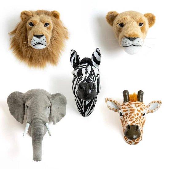 Trophées animaux sauvages pour chambre bebe animaux jungle