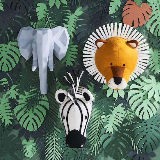 Trophée animaux sauvages pour chambre d'enfant
