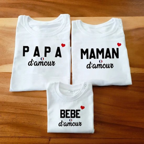 T-shirt assorti famille d'amour - Créatrice ETSY : magiculos